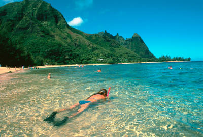Snorkeling off of Makana Beach with a view of Bali Hai